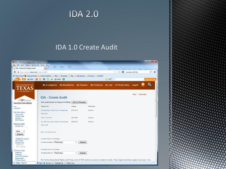IDA 1.0 Create Audit