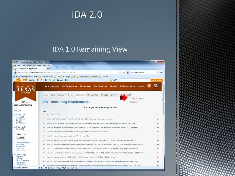 IDA 1.0 Remaining View
