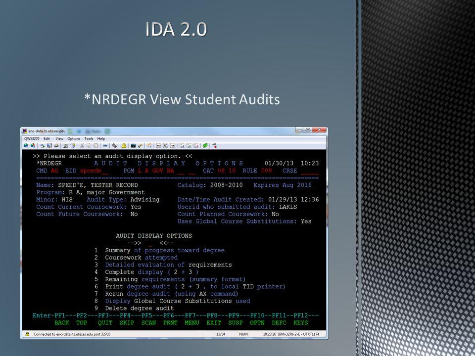 *NRDEGR View Student Audits