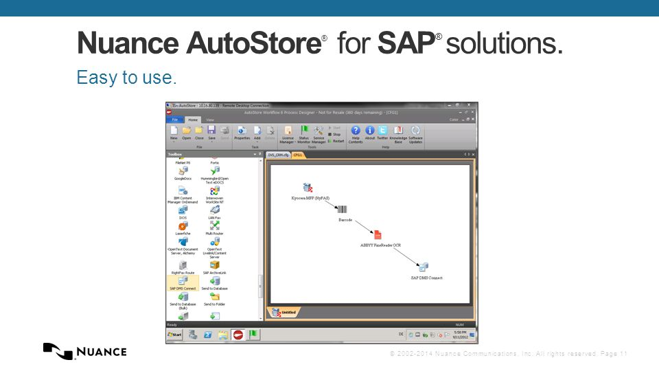 © 2002-2014 Nuance Communications, Inc. All rights reserved. Page 11 Nuance AutoStore ® for SAP ® solutions. Easy to use.