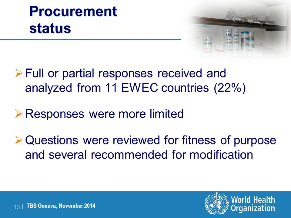 TBS Geneva, November 2014 13 |  Full or partial responses received and analyzed from 11 EWEC countries (22%)  Responses were more limited  Questions were reviewed for fitness of purpose and several recommended for modification Procurement status