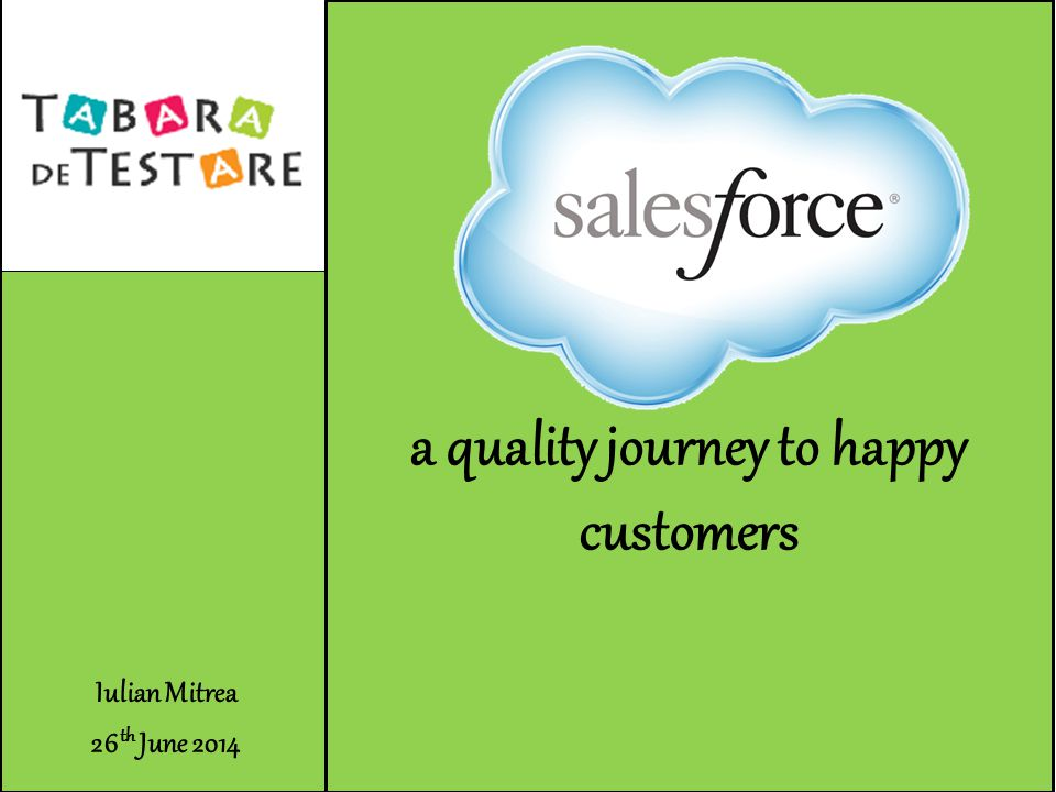 Iulian Mitrea 26 th June 2014 Salesforce a quality journey to happy customers