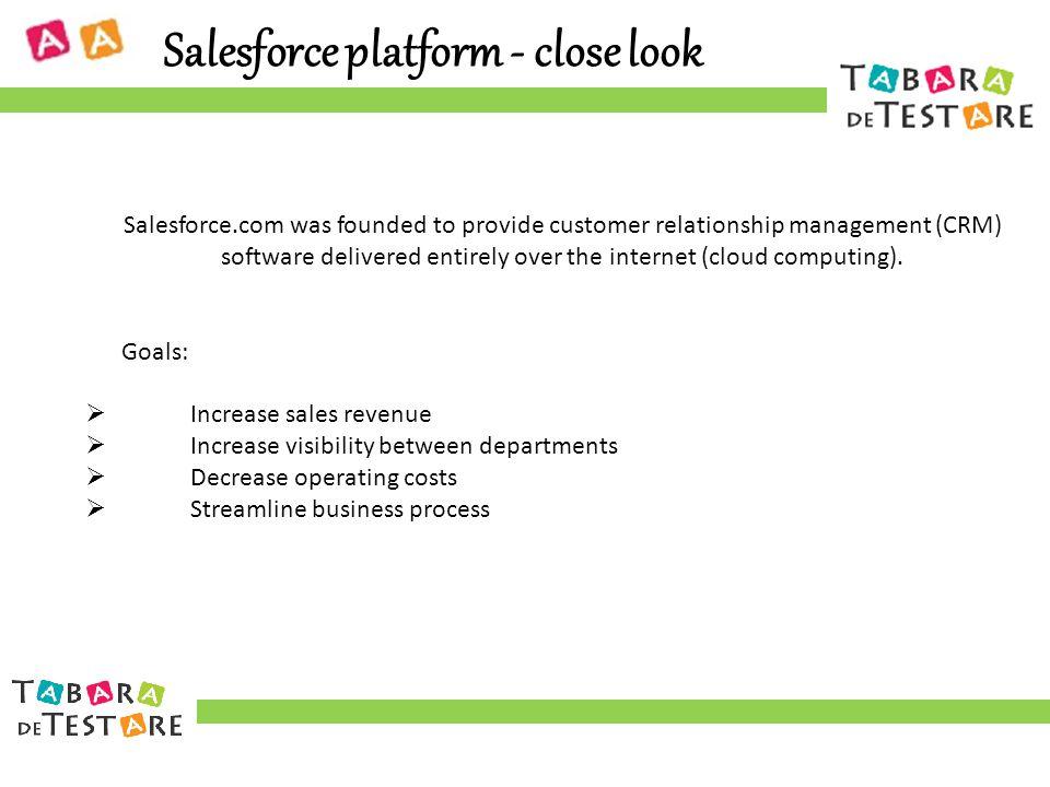 Salesforce platform - close look Salesforce.com was founded to provide customer relationship management (CRM) software delivered entirely over the internet (cloud computing).