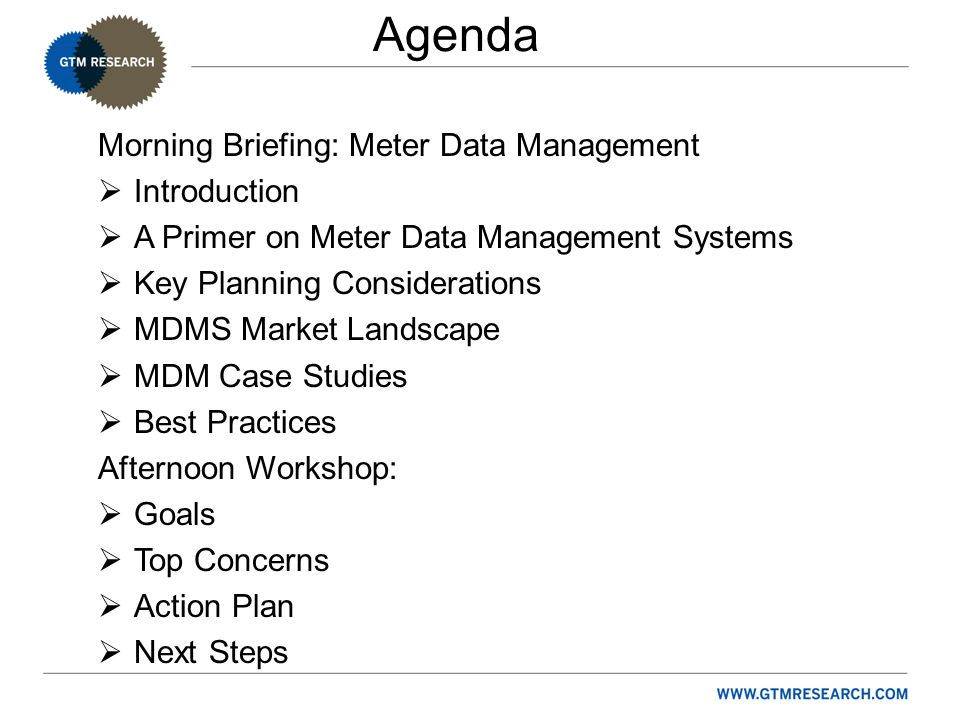Agenda Morning Briefing: Meter Data Management  Introduction  A Primer on Meter Data Management Systems  Key Planning Considerations  MDMS Market Landscape  MDM Case Studies  Best Practices Afternoon Workshop:  Goals  Top Concerns  Action Plan  Next Steps