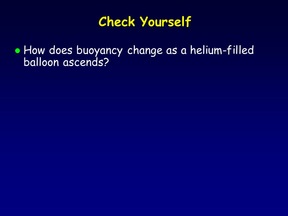 Check Yourself l How does buoyancy change as a helium-filled balloon ascends