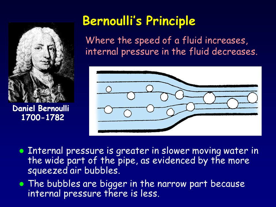 Bernoulli's Principle l Internal pressure is greater in slower moving water in the wide part of the pipe, as evidenced by the more squeezed air bubbles.
