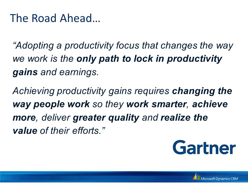 Adopting a productivity focus that changes the way we work is the only path to lock in productivity gains and earnings.
