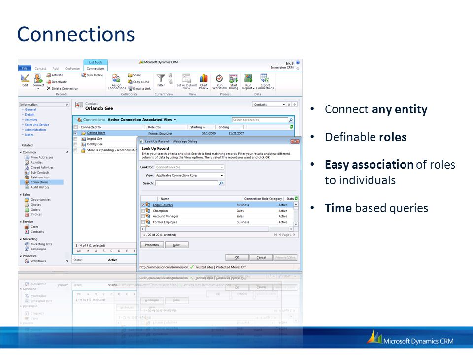 Connections Connect any entity Definable roles Easy association of roles to individuals Time based queries