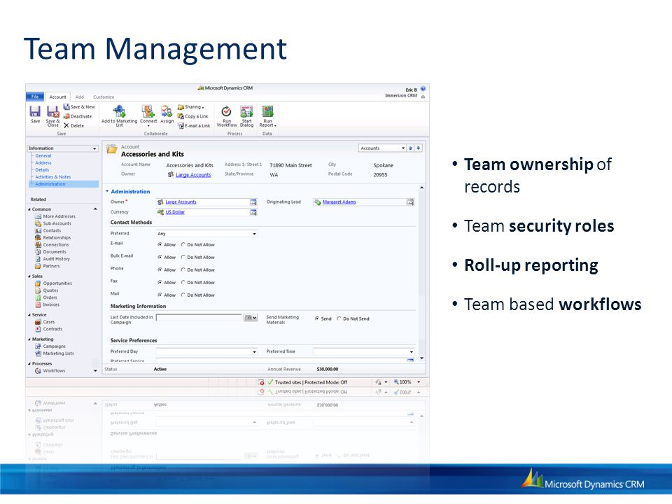 Team Management Team ownership of records Team security roles Roll-up reporting Team based workflows