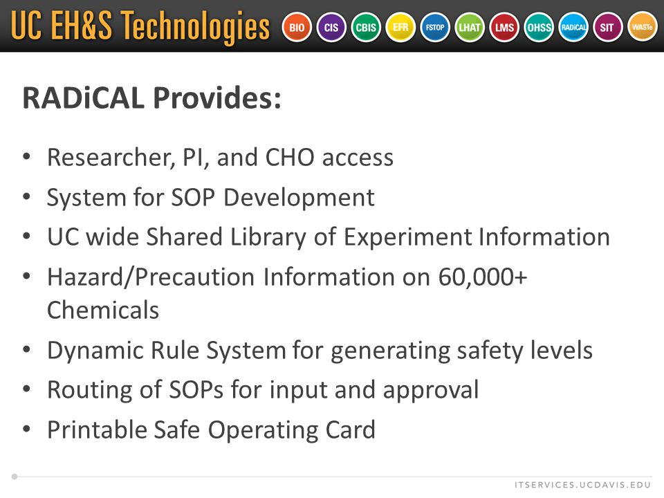 RADiCAL Provides: Researcher, PI, and CHO access System for SOP Development UC wide Shared Library of Experiment Information Hazard/Precaution Information on 60,000+ Chemicals Dynamic Rule System for generating safety levels Routing of SOPs for input and approval Printable Safe Operating Card