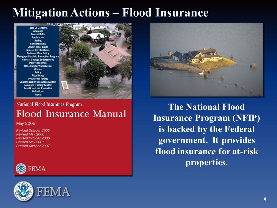 Mitigation Actions – Flood Insurance The National Flood Insurance Program (NFIP) is backed by the Federal government.