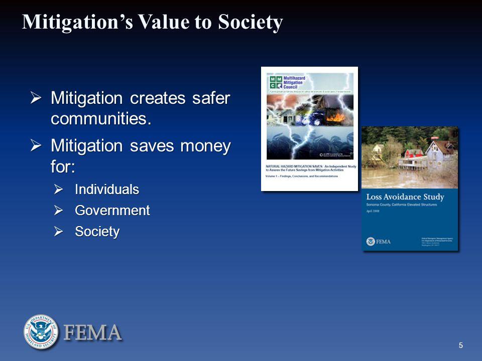 Mitigation's Value to Society  Mitigation creates safer communities.