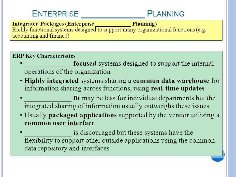 7-13 E NTERPRISE ____________ P LANNING Integrated Packages (Enterprise ____________ Planning) Richly functional systems designed to support many organizational functions (e.g.