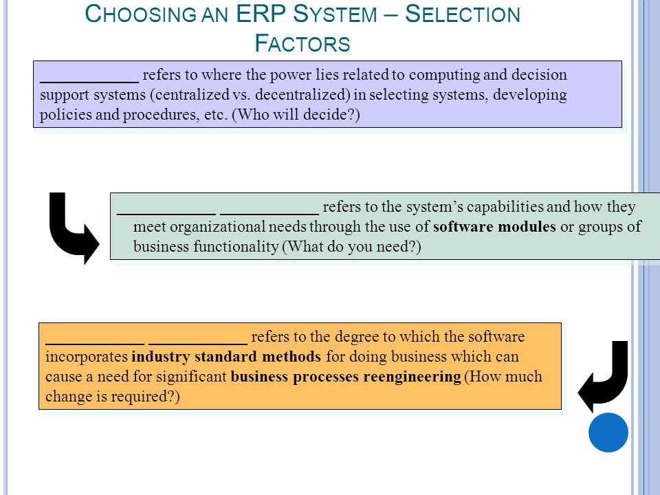7-16 C HOOSING AN ERP S YSTEM – S ELECTION F ACTORS ____________ refers to where the power lies related to computing and decision support systems (centralized vs.