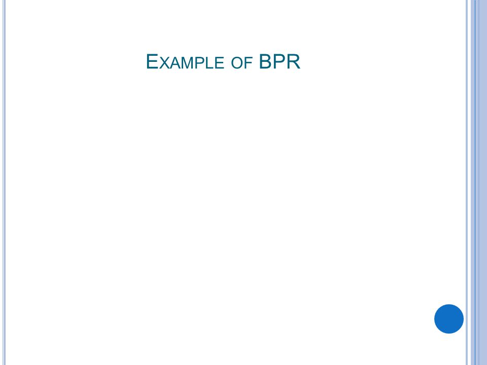 E XAMPLE OF BPR