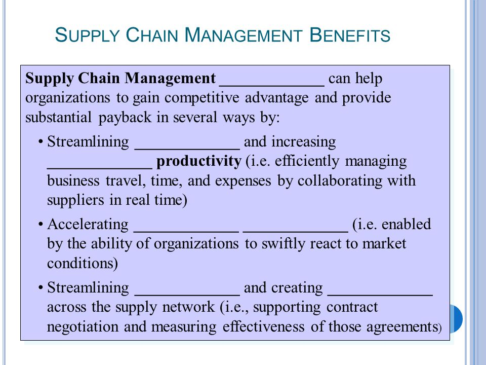7-29 S UPPLY C HAIN M ANAGEMENT B ENEFITS Supply Chain Management _____________ can help organizations to gain competitive advantage and provide subst