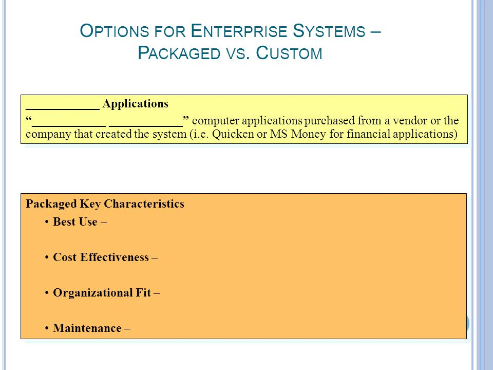 "7-9 O PTIONS FOR E NTERPRISE S YSTEMS – P ACKAGED VS. C USTOM ____________ Applications ""____________ ____________"" computer applications purchased fr"