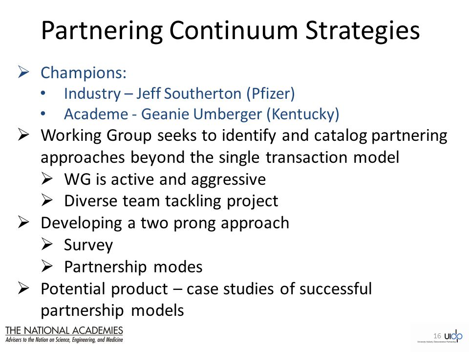 Partnering Continuum Strategies  Champions: Industry – Jeff Southerton (Pfizer) Academe - Geanie Umberger (Kentucky)  Working Group seeks to identify and catalog partnering approaches beyond the single transaction model  WG is active and aggressive  Diverse team tackling project  Developing a two prong approach  Survey  Partnership modes  Potential product – case studies of successful partnership models 16