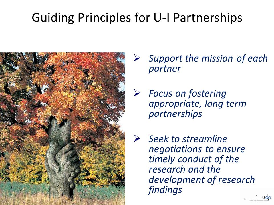 Guiding Principles for U-I Partnerships  Support the mission of each partner  Focus on fostering appropriate, long term partnerships  Seek to streamline negotiations to ensure timely conduct of the research and the development of research findings 5