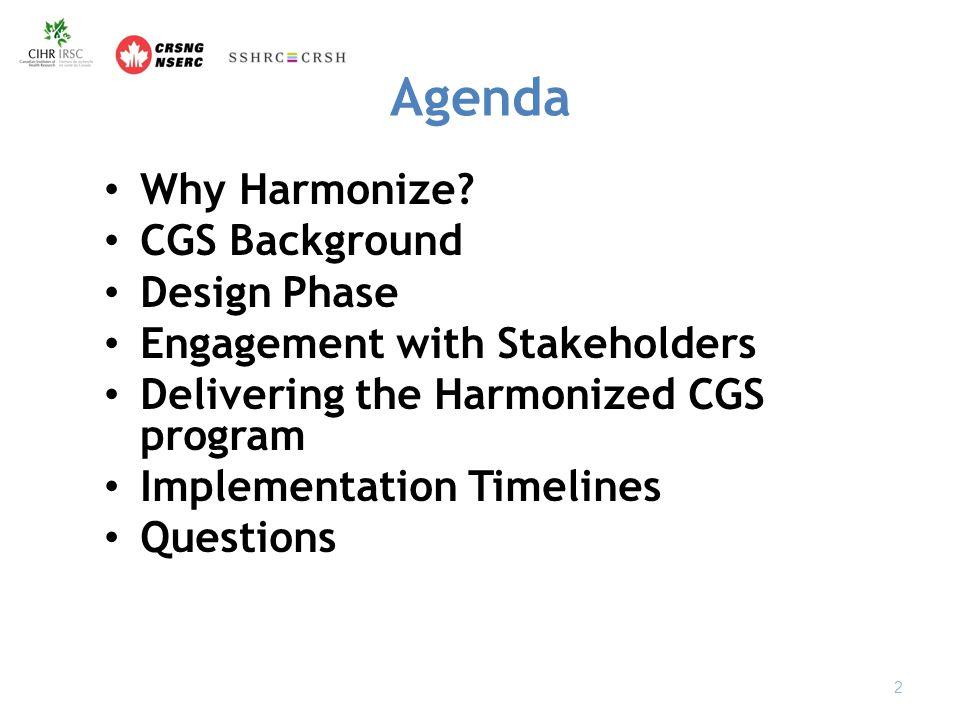 Agenda Why Harmonize.
