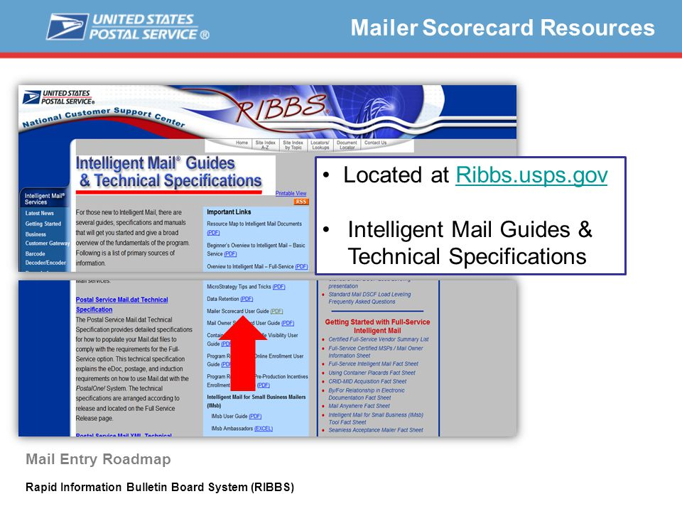 Located at Ribbs.usps.govRibbs.usps.gov Intelligent Mail Guides & Technical Specifications Mailer Scorecard Resources Mail Entry Roadmap Rapid Information Bulletin Board System (RIBBS)