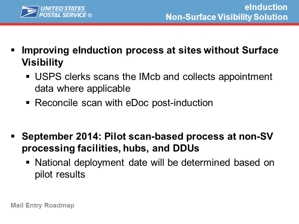 eInduction Non-Surface Visibility Solution Mail Entry Roadmap  Improving eInduction process at sites without Surface Visibility  USPS clerks scans the IMcb and collects appointment data where applicable  Reconcile scan with eDoc post-induction  September 2014: Pilot scan-based process at non-SV processing facilities, hubs, and DDUs  National deployment date will be determined based on pilot results