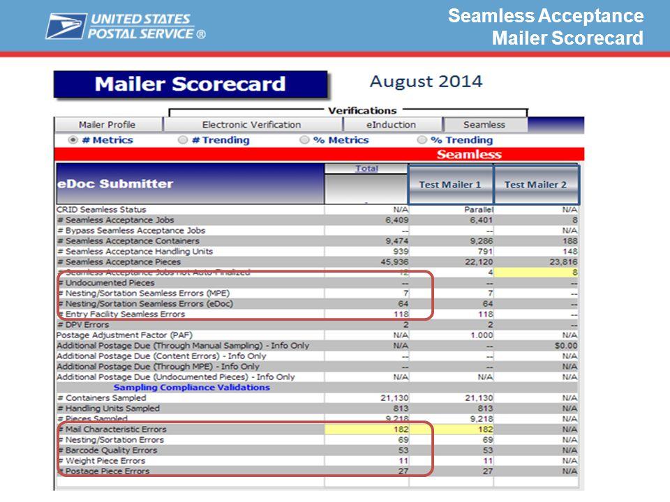 Seamless Acceptance Mailer Scorecard