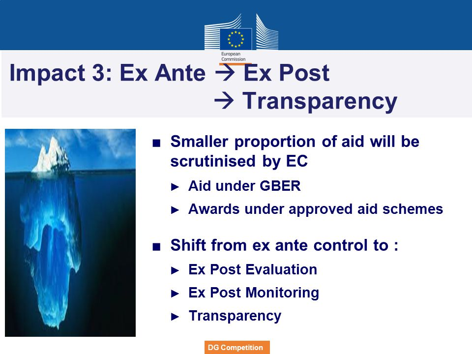 DG Competition Impact 3: Ex Ante  Ex Post  Transparency ■Smaller proportion of aid will be scrutinised by EC ► Aid under GBER ► Awards under approve