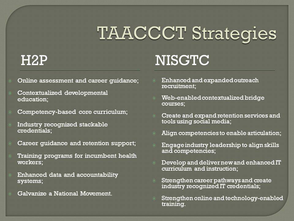 What is the baseline and progress on implementation related to TAACCCT- impacted Programs of Study and strategies.