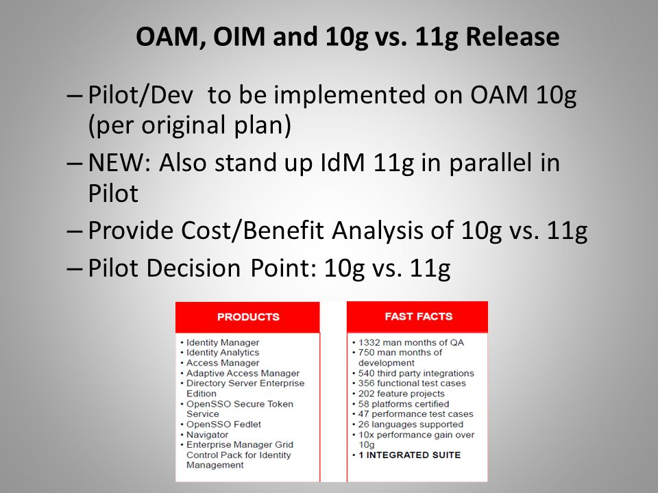 OAM, OIM and 10g vs. 11g Release – Pilot/Dev to be implemented on OAM 10g (per original plan) – NEW: Also stand up IdM 11g in parallel in Pilot – Prov