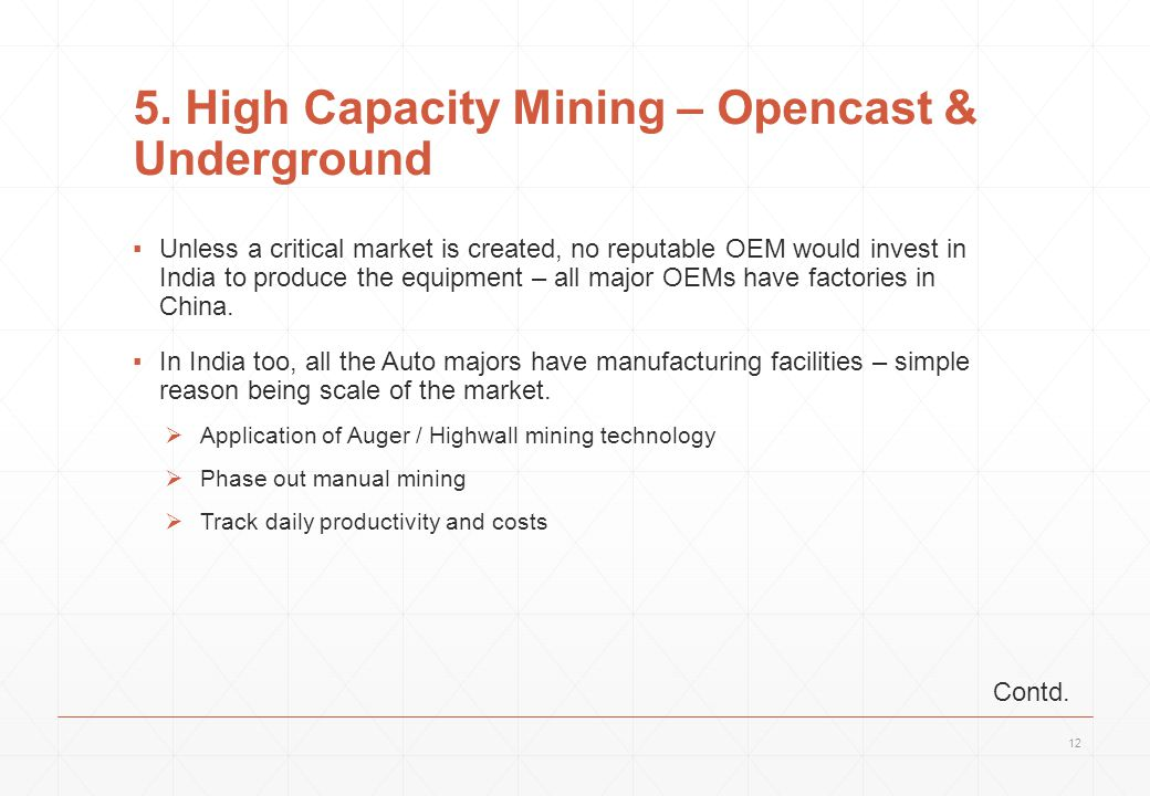 5. High Capacity Mining – Opencast & Underground ▪Unless a critical market is created, no reputable OEM would invest in India to produce the equipment