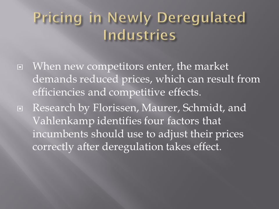  When new competitors enter, the market demands reduced prices, which can result from efficiencies and competitive effects.
