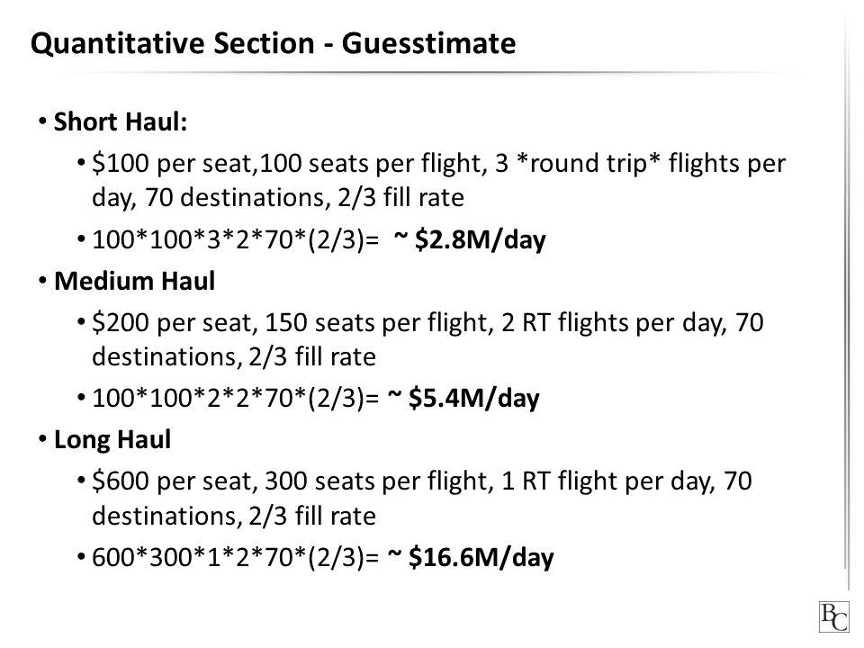 Quantitative Section - Guesstimate Short Haul: $100 per seat,100 seats per flight, 3 *round trip* flights per day, 70 destinations, 2/3 fill rate 100*100*3*2*70*(2/3)= ~ $2.8M/day Medium Haul $200 per seat, 150 seats per flight, 2 RT flights per day, 70 destinations, 2/3 fill rate 100*100*2*2*70*(2/3)= ~ $5.4M/day Long Haul $600 per seat, 300 seats per flight, 1 RT flight per day, 70 destinations, 2/3 fill rate 600*300*1*2*70*(2/3)= ~ $16.6M/day