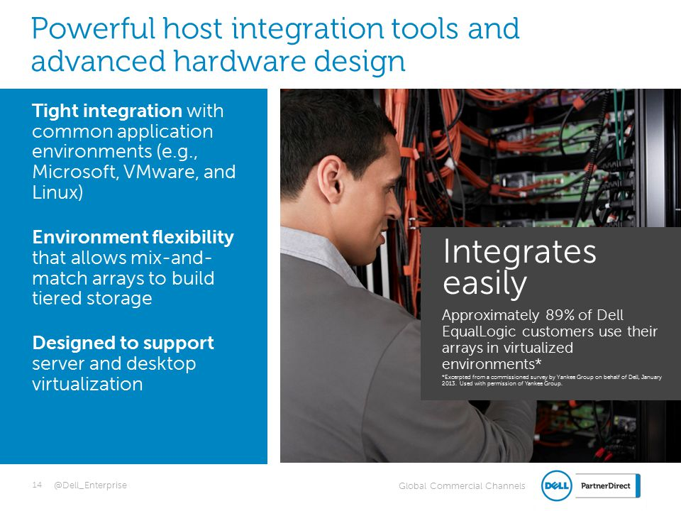 Global Commercial Channels @Dell_Enterprise Tight integration with common application environments (e.g., Microsoft, VMware, and Linux) Environment flexibility that allows mix-and- match arrays to build tiered storage Designed to support server and desktop virtualization Powerful host integration tools and advanced hardware design 14 Integrates easily Approximately 89% of Dell EqualLogic customers use their arrays in virtualized environments* *Excerpted from a commissioned survey by Yankee Group on behalf of Dell, January 2013.