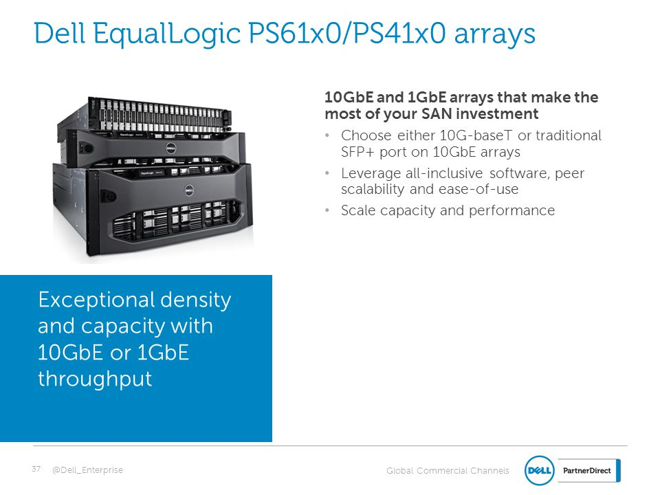 Global Commercial Channels Dell EqualLogic PS61x0/PS41x0 arrays 10GbE and 1GbE arrays that make the most of your SAN investment Choose either 10G-base
