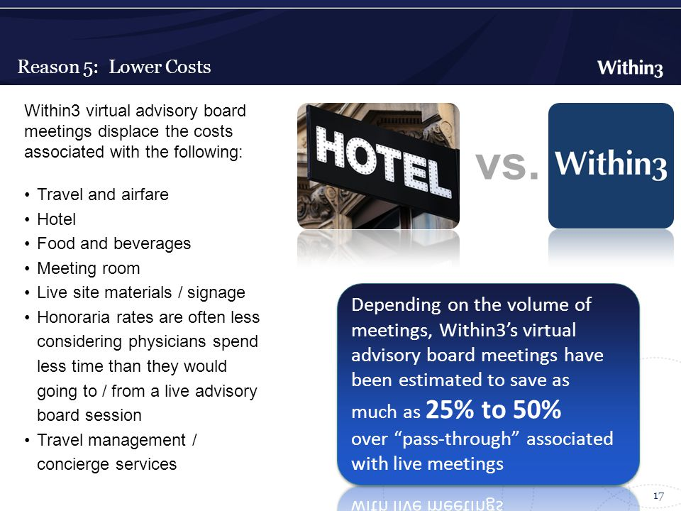 Reason 5: Lower Costs 17 Within3 virtual advisory board meetings displace the costs associated with the following: Travel and airfare Hotel Food and beverages Meeting room Live site materials / signage Honoraria rates are often less considering physicians spend less time than they would going to / from a live advisory board session Travel management / concierge services vs.