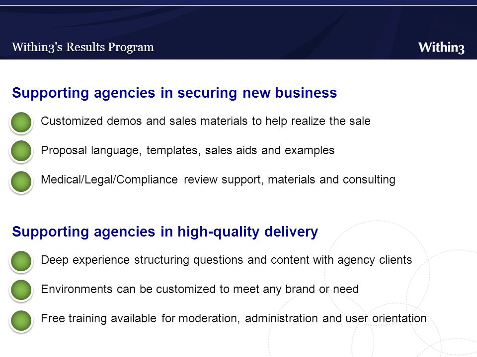 Within3's Results Program Supporting agencies in securing new business Customized demos and sales materials to help realize the sale Proposal language, templates, sales aids and examples Medical/Legal/Compliance review support, materials and consulting Supporting agencies in high-quality delivery Deep experience structuring questions and content with agency clients Environments can be customized to meet any brand or need Free training available for moderation, administration and user orientation