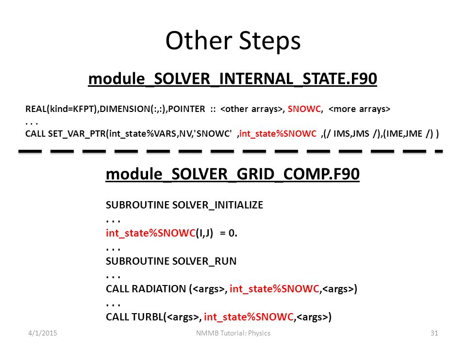 Other Steps module_SOLVER_INTERNAL_STATE.F90 module_SOLVER_GRID_COMP.F90 SUBROUTINE SOLVER_INITIALIZE... int_state%SNOWC(I,J) = 0.... SUBROUTINE SOLVE