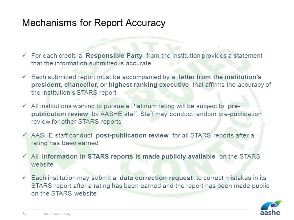 Mechanisms for Report Accuracy stars.aashe.org14 For each credit, a Responsible Party from the institution provides a statement that the information submitted is accurate Each submitted report must be accompanied by a letter from the institution's president, chancellor, or highest ranking executive that affirms the accuracy of the institution's STARS report All institutions wishing to pursue a Platinum rating will be subject to pre- publication review by AASHE staff.
