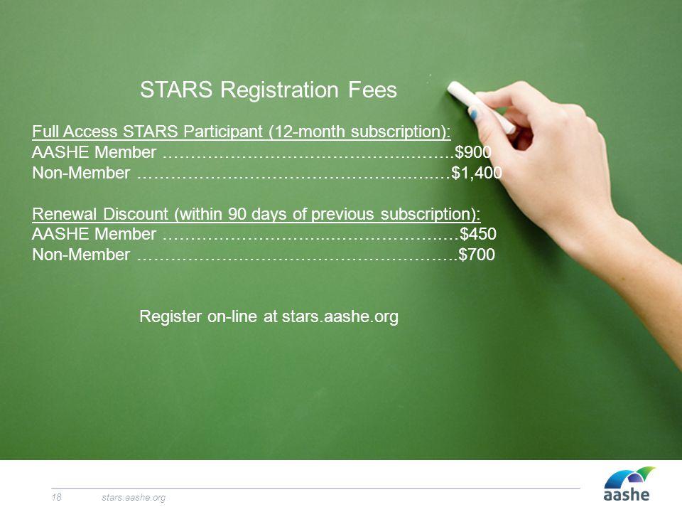 stars.aashe.org18 STARS Registration Fees Full Access STARS Participant (12-month subscription): AASHE Member ……………………………………..……..$900 Non-Member …………