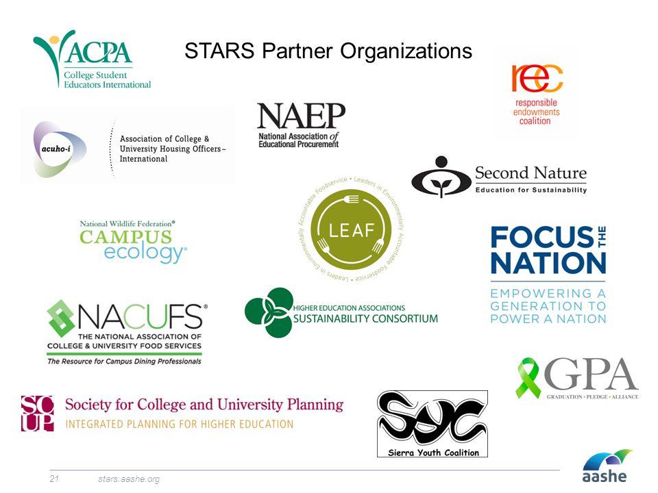 STARS Partner Organizations stars.aashe.org21