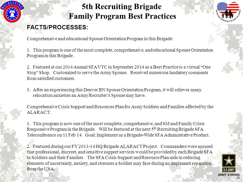 14 FACTS/PROCESSES: Comprehensive and educational Spouse Orientation Program in this Brigade: 1.