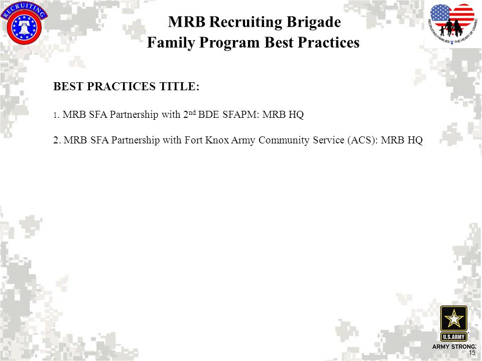 15 MRB Recruiting Brigade Family Program Best Practices BEST PRACTICES TITLE: 1.