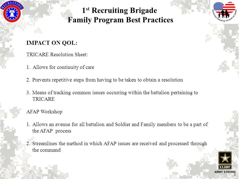 2 IMPACT ON QOL: TRICARE Resolution Sheet: 1.