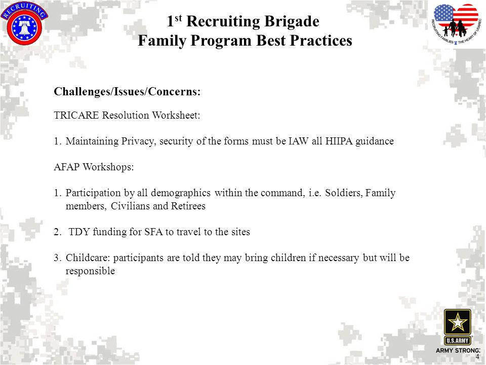 4 Challenges/Issues/Concerns: TRICARE Resolution Worksheet: 1.Maintaining Privacy, security of the forms must be IAW all HIIPA guidance AFAP Workshops: 1.Participation by all demographics within the command, i.e.