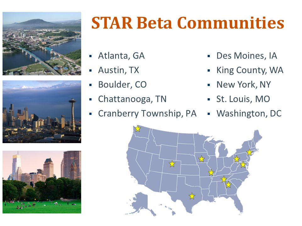  Atlanta, GA  Austin, TX  Boulder, CO  Chattanooga, TN  Cranberry Township, PA STAR Beta Communities  Des Moines, IA  King County, WA  New York, NY  St.