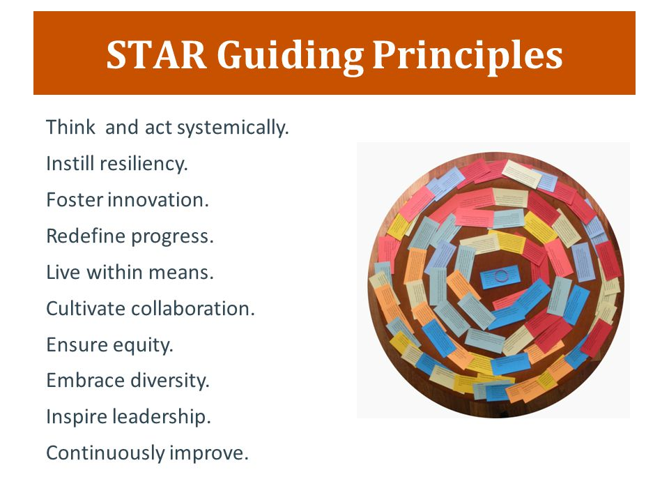 STAR Guiding Principles Think and act systemically.