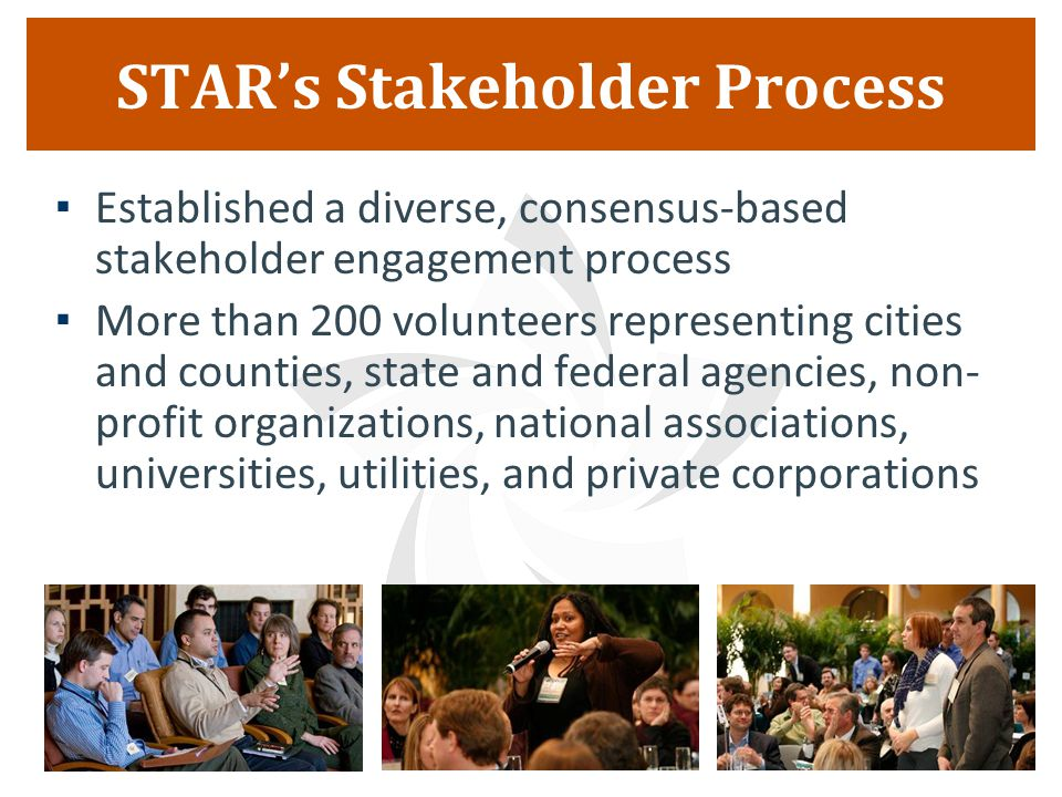 STAR's Stakeholder Process  Established a diverse, consensus-based stakeholder engagement process  More than 200 volunteers representing cities and counties, state and federal agencies, non- profit organizations, national associations, universities, utilities, and private corporations