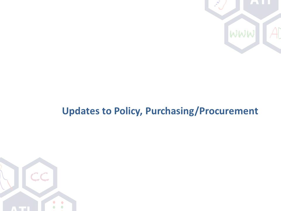 Updates to Policy, Purchasing/Procurement