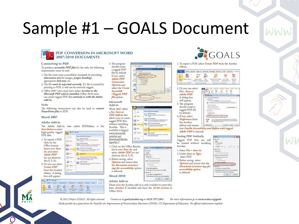 Sample #1 – GOALS Document